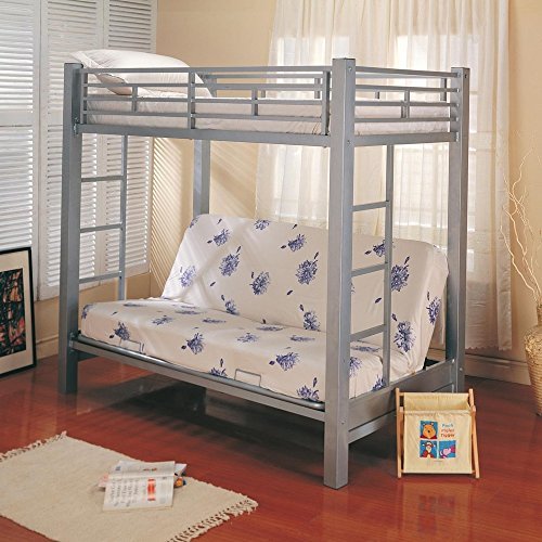 Coaster Futon Metal Bunk Bed in Silver Finish, Twin (Twin Over Full Futon compare prices)