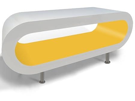 Blanc Brillant et Mat Hoop Jaune Table Basse TV / Meuble en Différentes Tailles