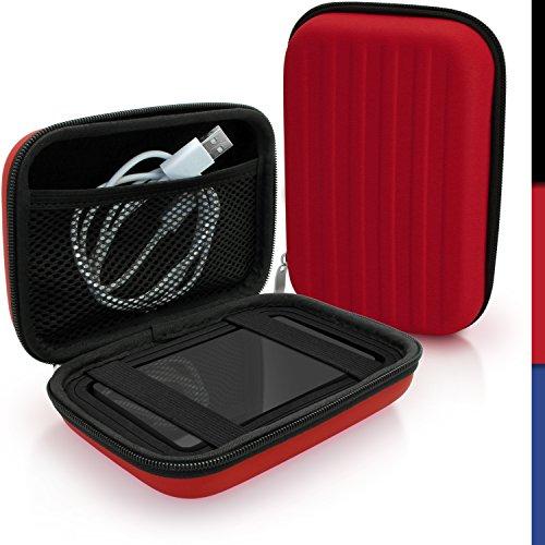 igadgitz Rosso EVA Borsa Custodia Rigida per Buffalo MiniStation Portatile Hard-Disk Esterno Case Cover