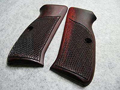 New Grip for CZ 75/85 Full Size, Half Checkered with Frame line Rosewood, Thai Handmade