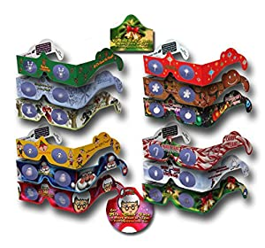 20 Pairs 3D Christmas Glasses - 12 Different Exclusive Styles - SHIPS FOLDED & SLEEVED 3Dstereo Holiday Eyes(TM) - - MRS CLAUS & JINGLE BELLS (2014)- - Transform Christmas Lights Into Magical Images - Holiday Specs by 3Dstereo Holiday Eyes Glasses