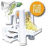 Spiral Slicer Tri-Blade Vegetable Spiralizer Complete Bundle - Best Zucchini Pasta Noodle Spaghetti Maker + FREE Bonuses