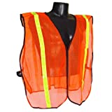 Radians SVO1-S/XL Small to Extra Large Non Rated Safety Vest with One Inch Tape, Orange Mesh