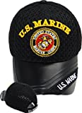 U.S. Marine Baseball Cap BLACK with Marine Corp Hat Logo Leather Bill United States Military Headwear