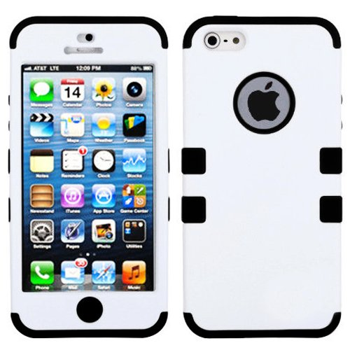 Mylife Black And White - Colorful Robot Series (Neo Hypergrip Flex Gel) 3 Piece Case For Iphone 5/5S (5G) 5Th Generation Smartphone By Apple (External 2 Piece Fitted On Hard Rubberized Plates + Internal Soft Silicone Easy Grip Bumper Gel)