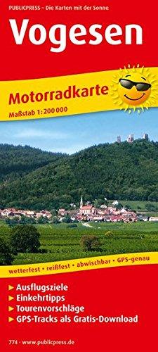 Vogesen: Motorradkarte mit Ausflugszielen, Einkehr- & Freizeittipps, wetterfest, reißfest, abwischbar, GPS-genau. 1:200000