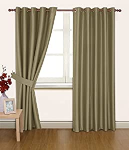 Taupe Faux Silk 66x72 Thermal Lined Blackout Heavyweight Ring Top Curtains from Curtains