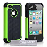 Dual Combo Grip Back Hard And Soft Silicone Gel Case For The Apple iPhone 4 / 4S Green / Black With Screen Protector Film And Grey Micro-Fibre Polishing Clothby Yousave