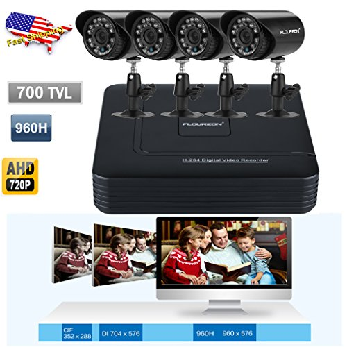 Great Features Of FLOUREON 4CH 960H AHD 720P HDMI DVR Video Recorder with 700TVL Night Vision Waterp...