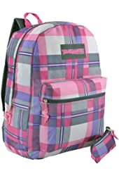 16.5 Inch Plaid Multi Compartment Backpack Student School Book Bag + Pencil Case