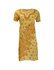 Lucknow Chikan Industry Women's Cotton Straight Kurti (Yellow , 42 Inches) - B00XHKFZVO