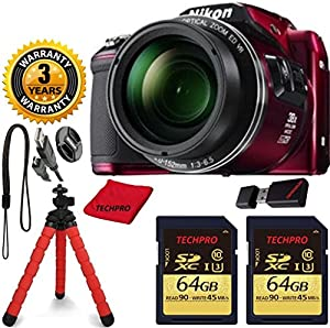 Nikon COOLPIX L840 Camera with 38x Optical Zoom and Wi-Fi (Red) (NEW, WHITE BOX) TECHPRO Bundle with Microfiber Cloth + Spider Tripod + 2pcs TECHPRO 64GB Memory + Reader + 3 Year Worldwide Warranty