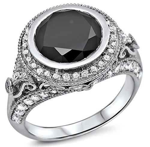 2.90Ct Round Black Diamond Bezel Set Vintage Style Engagement Ring 14K White Gold