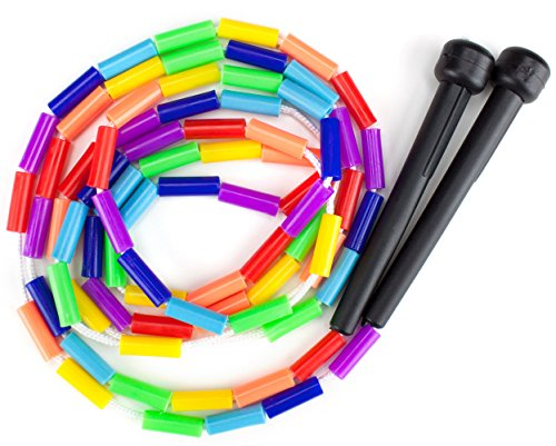K-Roo Sports Rainbow 7-Feet Jump Rope with Plastic Beaded Segmentation (Kids Jump Ropes compare prices)