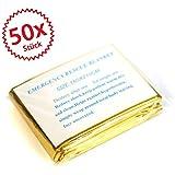 50 x Rettungsdecke Rettungsfolie Notfalldecke gold/silber 2,10*1,60