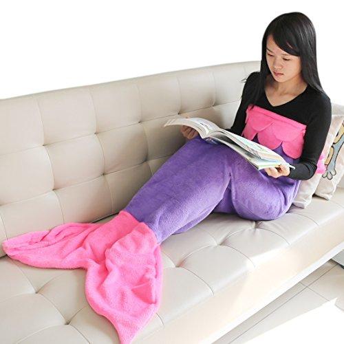 YiZYiF Kinder Fleecedecke Kuscheldecke Meerjungfrau Schwanz-flosse Decke Blanket Cosplay Mädchen Kostüm für 4-14 Jahre (S, Lila + Dunkel Rosa) thumbnail
