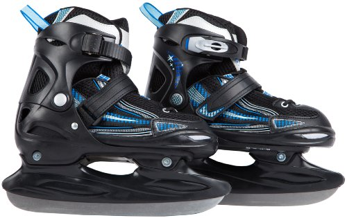 Ultrasport Boy's Adjustable Size Ice Skates - Black/Blue, Size 10.5 - 12.5 (EU: 28 - 31)