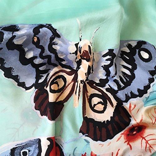 YUYU Ape farfalla verde Ladies lusso sciarpe di seta lungo Bi-fold portafogli , picture color