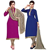 PARISHA Present 2 Pieces combo Pink & Blue Embroidered Un-stitched Straight Suit ASM4903-04