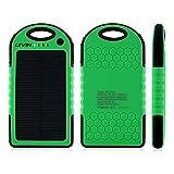 LEVIN 6000mAh iPhone/Androidモバイルソーラーチャージャー ソーラー充電器 ソーラーモバイルバッテリー 衝撃吸収 防じん 防雪 グリーン
