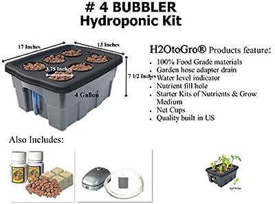 "H2OtoGro® Hydroponic BUBBLER System #4 ~ 17""x13"", 6 site"