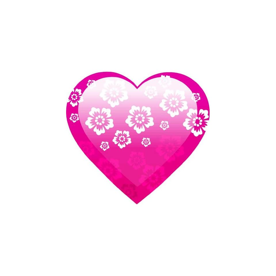 2 Helmet Pink flower heart engineer grade reflective vinyl decal sticker for any smooth surface such as windows bumpers laptops or any smooth surface.
