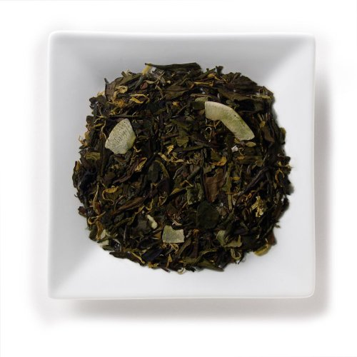Mahamosa Lime Green-White Tea 8 Oz, Loose Leaf Green And White Tea Blend (With Coconut Chips, Lemon Granules, Marigold Blossoms)