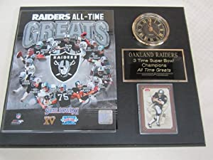 Oakland Raiders All Time Greats Collectors Clock Plaque w 8x10 Photo and Card by J & C Baseball Clubhouse