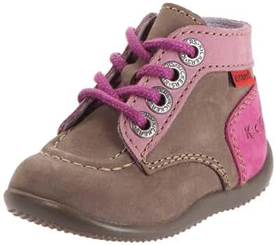 Kickers Bonbon, Chaussures à lacets bébé fille - Kaki/rose, 20 EU