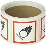 Accuform Signs LZH612PS2 GHS Pictogram Label, FLAME OVER CIRCLE, 2