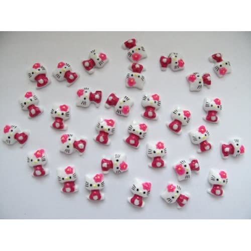 Nail Art 3d 40 Pieces Hot Pink Hello Kitty for Nails, Cellphones 1.3cm*.9cm