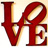 """0110 - 24"""" wide LOVE sign metal wall art - Handmade - Choose your patina color"""