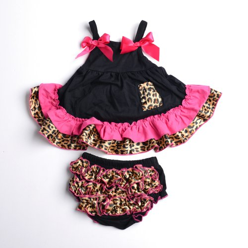 Masione Fashion Baby Toddlers Cute Soft Cotton Lovely Dress+Underpants Outfit (Size L, Leopard) front-303876
