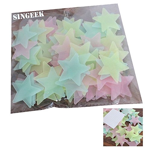 Singeek 100Pcs/Pack Stars Glow in the Dark Luminous Fluorescent Plastic Wall Stickers