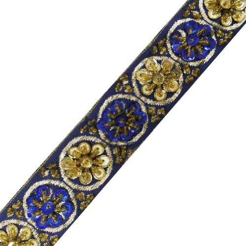Blue Beaded Trim Sequin Decorative Women Border Lace Sewing Craft 3 Yd