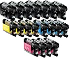 Sherman Ink Cartridges © Ink for MFCJ870DW, MFC-J450DW 20 Pack Replacement Compatible Ink Cartridge LC103 LC-103 8 Black, 4 Cyan, 4 Yellow, 4 Magenta Compatible with Printers MFC-J870DW, MFC-J450DW, MFC-J6920DW, MFC-J650DW