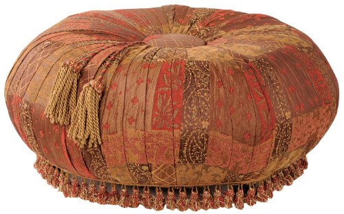 Jennifer Taylor Caravan Round Ottoman, Red and Brown Multicolored