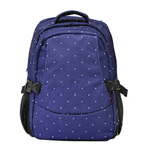 Damai Travel Backpack Diaper Bag (Blue With Dots) front-377601