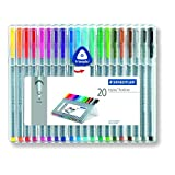Staedtler Triplus Fineliner 334 SB20 Tips Desktop Box - Assorted Colours (Pack of 20)by Staedtler