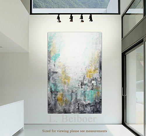 40 x 60 Big abstract painting original large art green gray yellow painting abstract wall art contemporary oil painting by L.Beiboer
