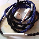 Earbuds w/mic Dark Blue and Black Tangle Free, Hand Wrapped Headphones Made for Apple iPhone 5, 5c, 5s, iPad, iPod, EarPods, Headphones