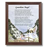 African American Black Guardian Angel Childeren On Bridge Religious Wall Picture Cherry Framed Art Print