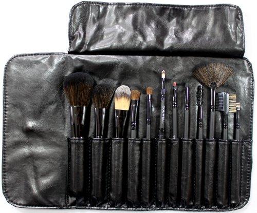 メイクブラシブラシ 化粧ブラシ セット 収納ケース付き 12本 黒 031