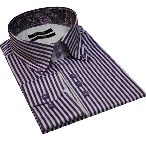 Italian Design High Collar Button Down Men Formal Casual Shirts Purple Stripe
