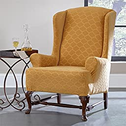 Brylanehome Studio Stretch Moroccan Tile Wing Chair Slipcover (Marigold,0)