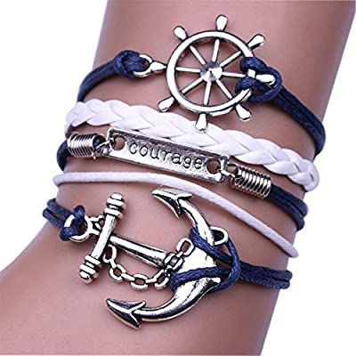 Ularmo Jewelry Mens Womens Multilayer Leather Bracelet Vintage Charm Bangle