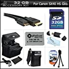 32GB Accessories Bundle Kit For Canon PowerShot SX50 HS, SX50HS, SX40 HS SX40HS G1 X, G15, G16 Digital Camera Includes 32GB High Speed SD Memory Card + Extended Replacement (1200Mah) NB-10L Battery + AC/DC Charger + Mini HDMI Cable + USB Reader + Case ++