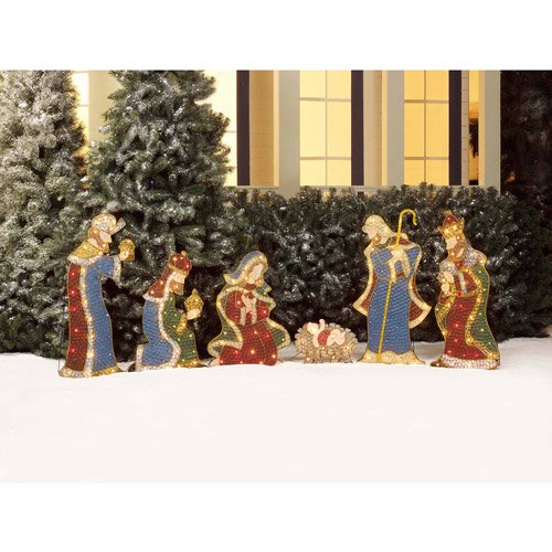 Nativity and Wise Men Lighted Christmas Sculpture, 6-Piece Set