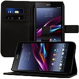 kwmobile Wallet Case Hülle für Sony Xperia Z Ultra - Cover Flip Tasche mit Kartenfach und Ständerfunktion in Schwarz
