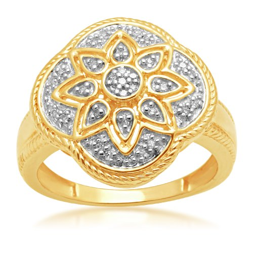Jewelili 18k Gold Plated Sterling Silver Diamond Ring (1/10 Cttw, IJ Colour, I2/I3 Clarity), Size 7